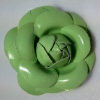 Leather Look Flower Brooch Clip - Green