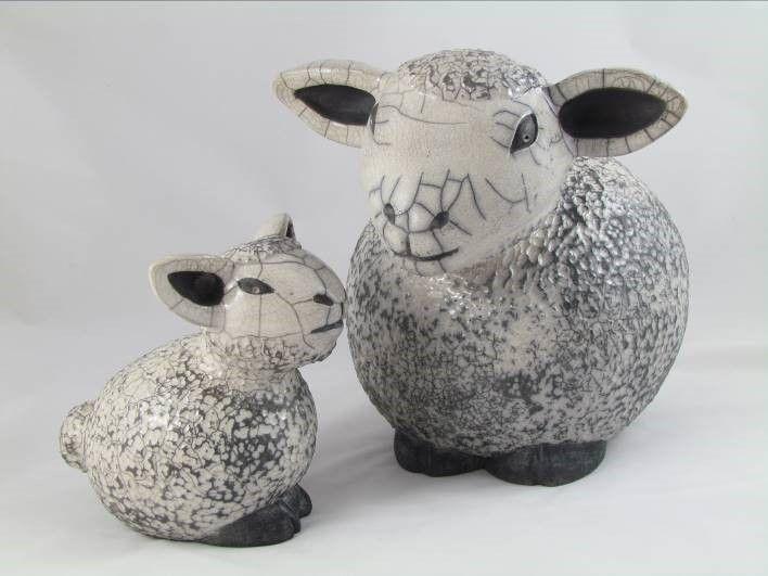 sculpture raku animal moutons fait main pièce unique originale Danièle Meyer