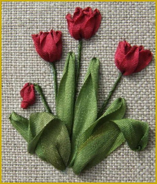 Love these ribbon embroidered tulips the texture of