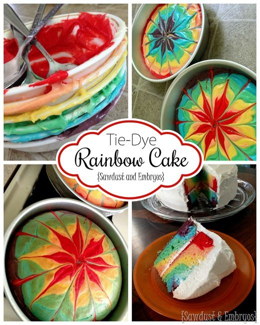 How to make a rainbow tye-die double layer cake! {Sawdust and Embryos}