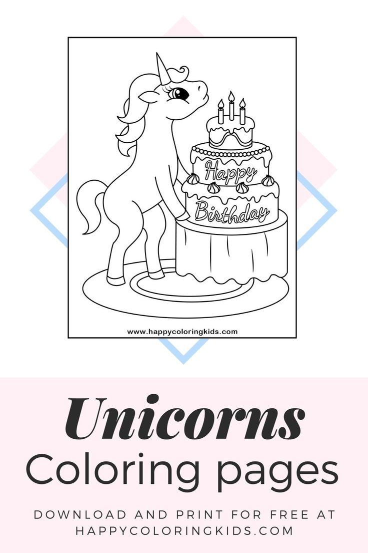Unicorns coloring pages to print | Happy birthday unicorn ...