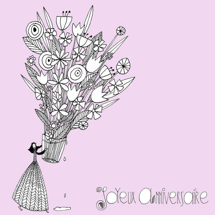 Une petite carte pour souhaiter un bon anniversaire avec for Bouquet de fleurs pour une naissance