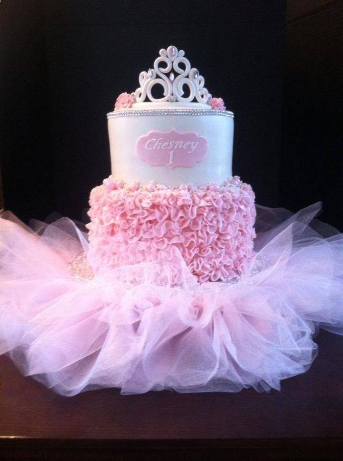 Pink Ruffle Tutu Princess Cake ~ all edible except for the tutu
