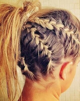 Thick white girl cornrows. Section hair off into and French braid back to a pony tail. Funky!