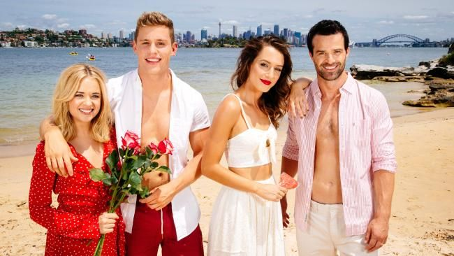 Home & Away on-screen couple Raechelle Banno and Scott Lee with fellow cast members Isabella Giovinazzo and Charlie Clausen at Milk Beach, Vaucluse.