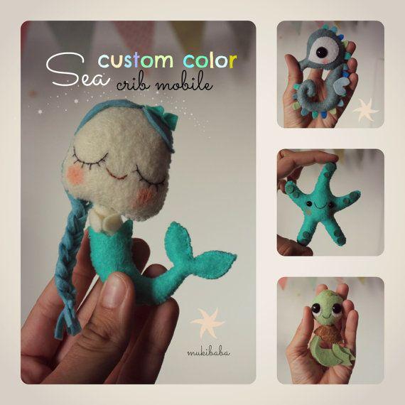 Baby Mobile Ocean Sea Mobile Nursery Crib Mobile Mermaid, octopus, starfish, seahorse, kawaii turtle