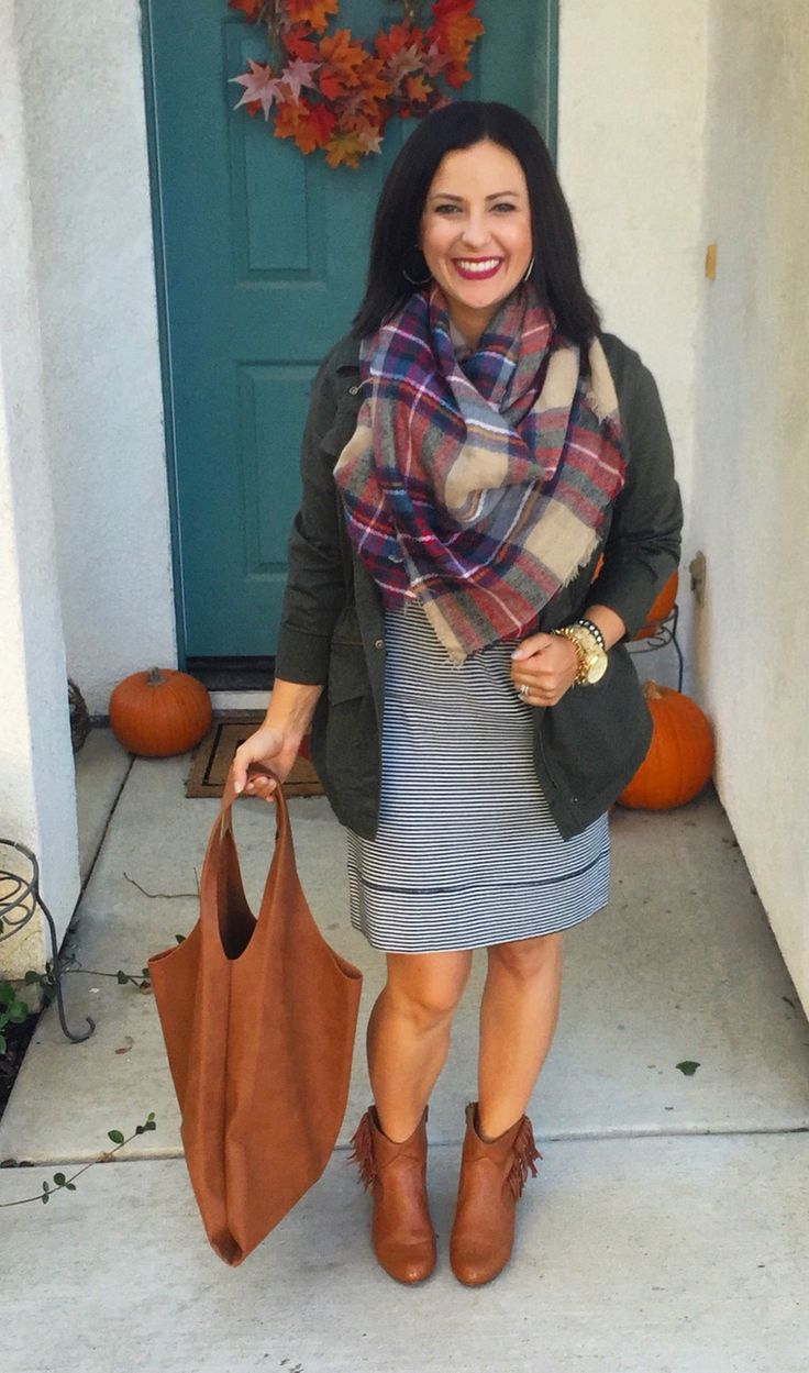 Fall style, teacher ootd, outfit inspiration. Striped ...