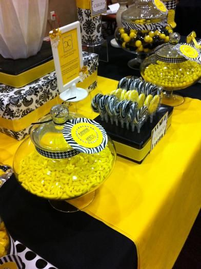 Hostess with the Mostess® - Black and Yellow Candy Buffet