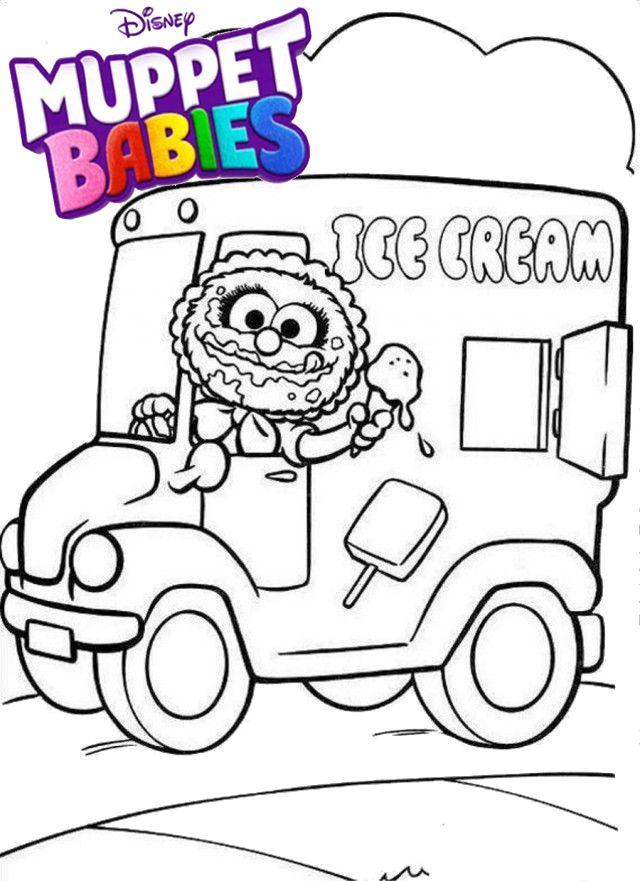 Baby Animal Selling Ice Cream Muppet Babies Coloring Page Truck Coloring Pages Baby Coloring Pages Muppet Babies