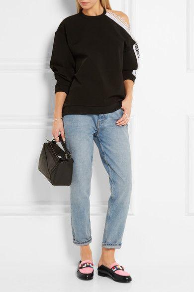 Fendi - Studded Shearling-paneled Leather Loafers - Black - IT40.5