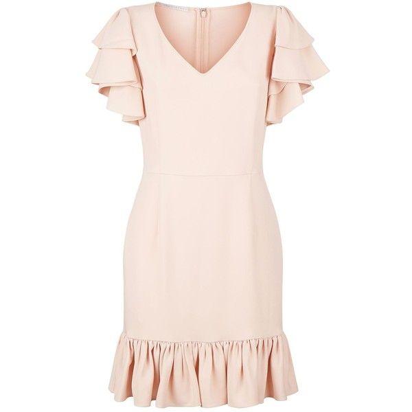 Stella McCartney Miranda Ruffle Dress ($1,180) ❤ liked on Polyvore featuring dresses, v-neck dresses, flutter sleeve dress, pink frilly dress, v neckline dress and ruffle dress