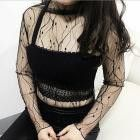 Sexy Blouse Mesh See-Through Women Tops Long Sleeve Crop Lace Sexy Black Blouse