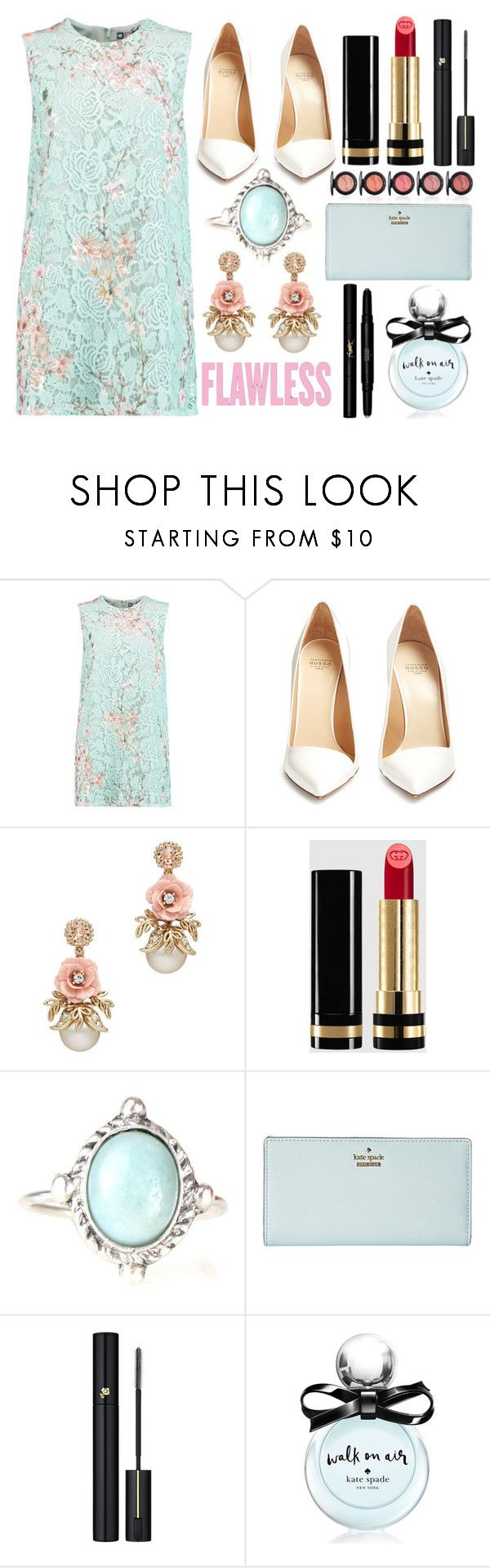 """Lace Mini Dress"" by princess13inred ❤ liked on Polyvore featuring MSGM, Francesco Russo, Gucci, Kate Spade, Lancôme and Yves Saint Laurent"