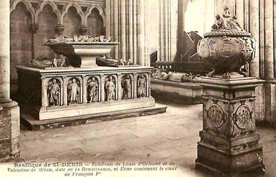 Basilique de Saint-Denis : tombeau de Louis d'Orléans et de Valentine de Milan, et urne contenant le coeur de François 1°.-