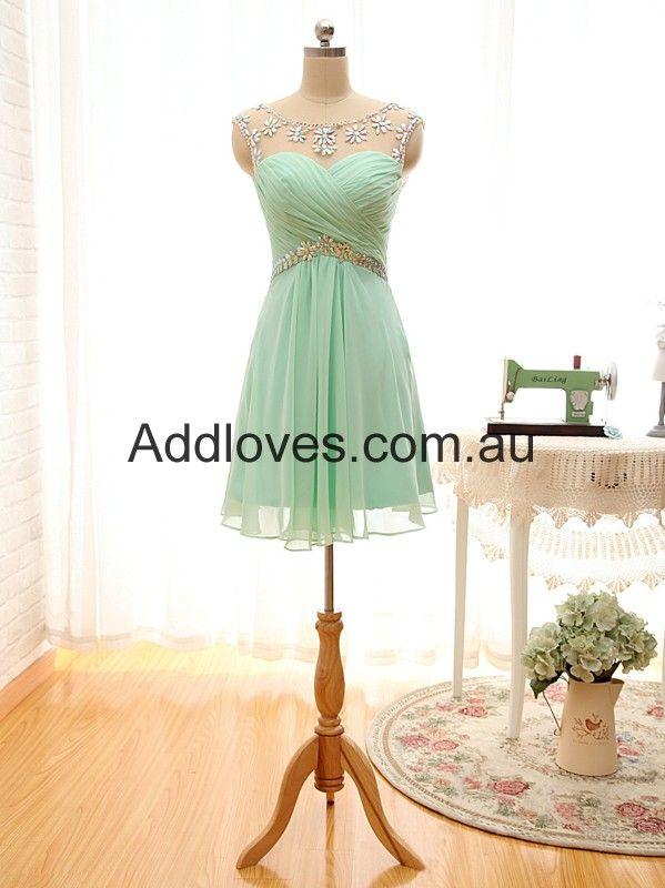 Short A-Line Mint Chiffon Cocktail Dresses