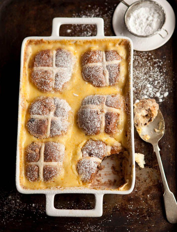 hot cross bun pudding with chocolate and orange