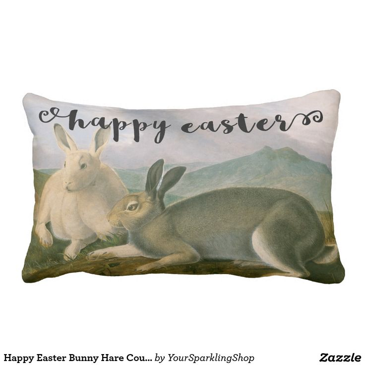 Happy #Easter Bunny #Arctic #Hare Couple Watercolor Vintage #Lumbar #Pillow #giftideas
