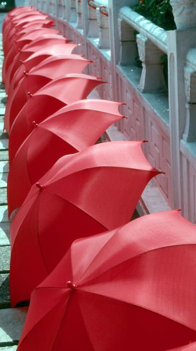 Red Umbrellas by Douglas Pike