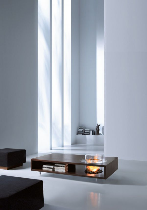I love..and sell the EcoSmart Fire pieces that we can build into furniture. Absolutely gorgeous!