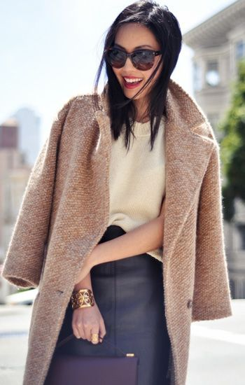 How to wear #camelcoat: #leatherskirt + #whitesweater