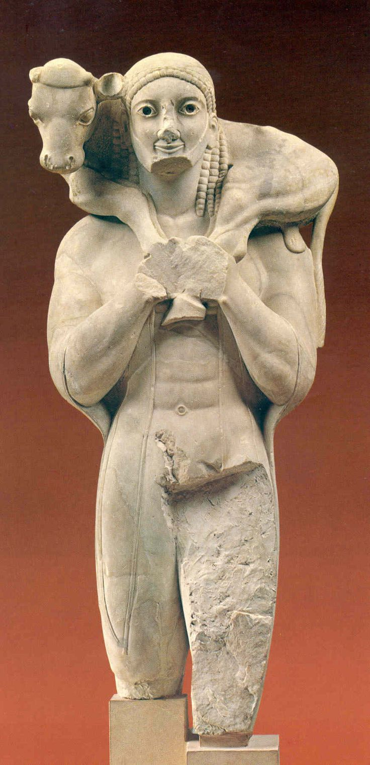 The Moschophoros of the Acropolis, ca 570 BCE. Acropolis Museum, Athens, Greece