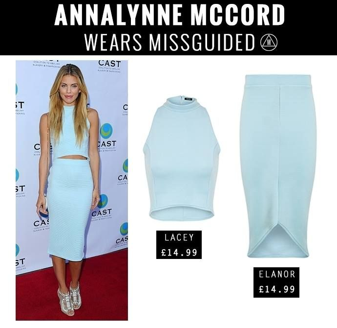 #90210 and #Dallas star #AnnalynneMccord oozes cool in the #Missguided Lacey High Neck Ribbed #CropTop and Elanor Curve Hem #MidiSkirt! We love <3 #OOTD #Style
