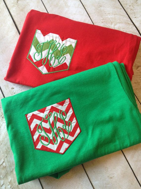 Christmas shirt Monogrammed Chevron