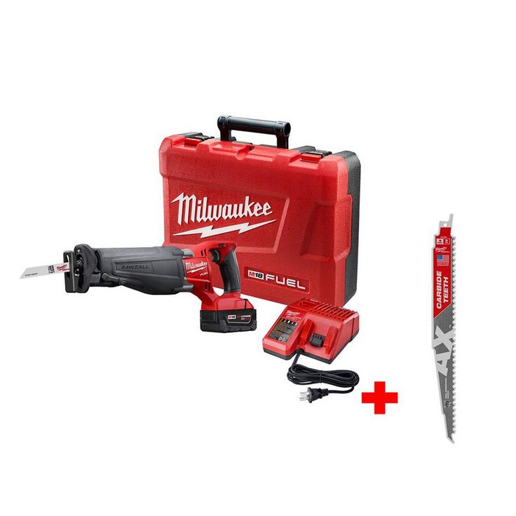 Milwaukee M18 Fuel 18-Volt Lithium-Ion Brushless Cordless Sawzall Reciprocating Saw Kit with Carbide Teeth The AX Sawzall Blade