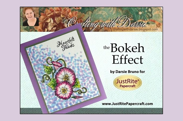 """JustRite Papercraft designer, Darsie Bruno, shows us how to create the Bokeh Effect with re-inkers and q-tips! This is a fun technique that incorporates tiny dots of ink to achieve the """"bokeh"""" look, which is described as """"out-of-focus points of light""""."""