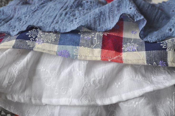 Купить Юбка из хлопка с воланами - голубой, в клеточку, юбка длинная, юбка летняя, юбка бохо