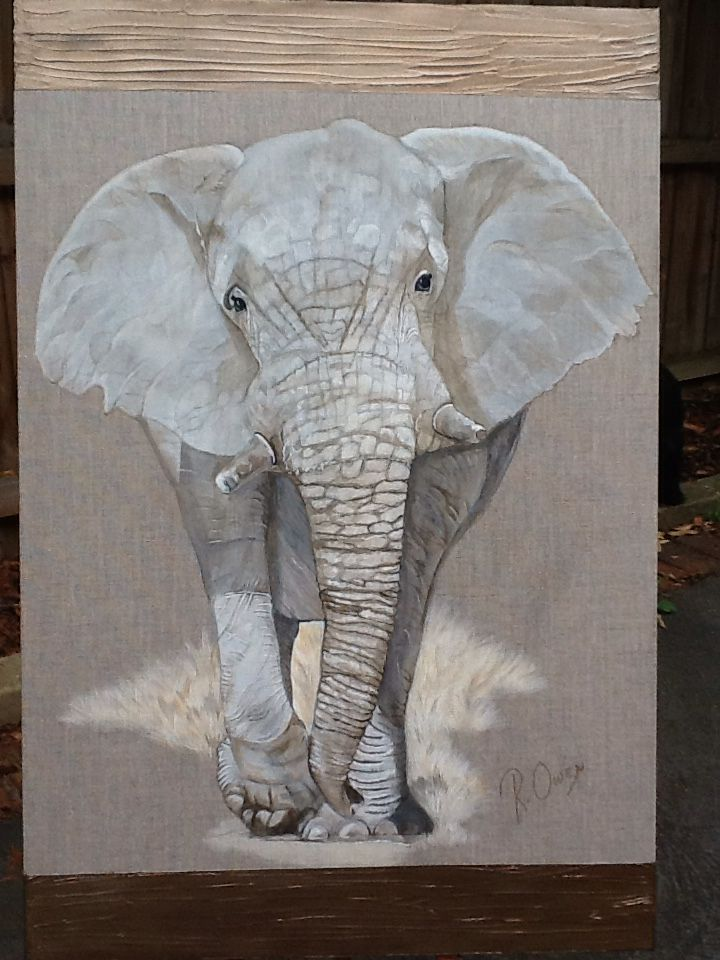 African elephant on linen canvas  Acrylic & texture.