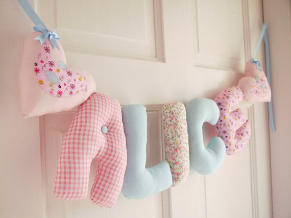 Baby name Alice made in a gorgeous mix of pastel fabrics with two gorgeous applique hearts at either end.  You can buy this name in our ETSY shop or we can make you any name in this fabric combination - just let us know! :)