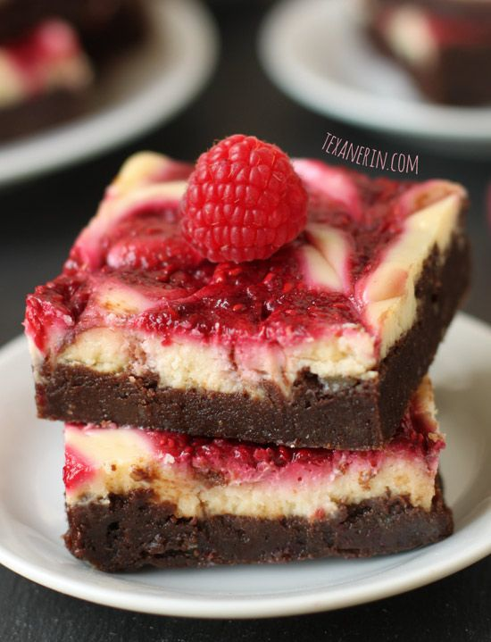 These healthier raspberry cheesecake brownies are made with whole wheat flour and a few other healthier changes!
