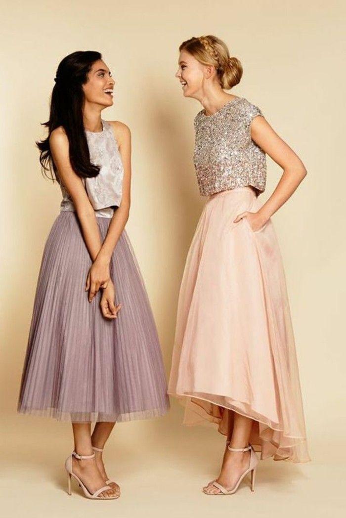 jupe longue évasée plissée en rose pâle et violette