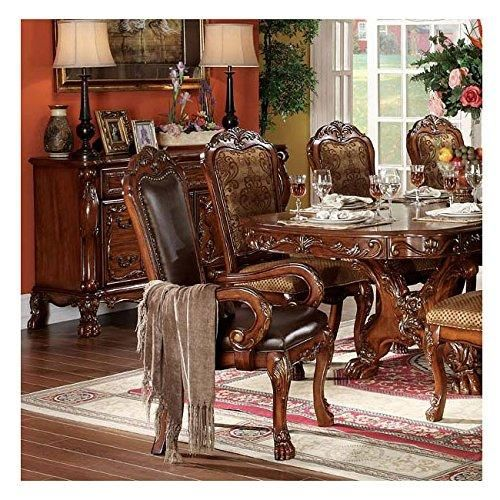 ACME 12154 Set of 2 Dresden Arm Chair, Cherry Oak Finish  Set of 2 #Dining #Arm #Chairs in Cherry Oak Finish Features brown leatherette upholstered with decorative nail head trim. Amazing carvings top, ball and claw design feet. With elaborate carvings and careful details, item has a refined, elegant look that goes with any dining room decor.
