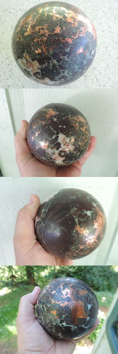 Massage Stones and Rocks: 773 Gladstone Ore Copper W Quartz And Epidote Sphere Ball Massage Stone -> BUY IT NOW ONLY: $250 on eBay!