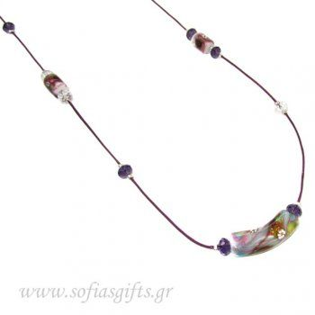 Handmade purple long necklace with crystals and colored stones embossed - Sofia - handmade jewlery & accessories