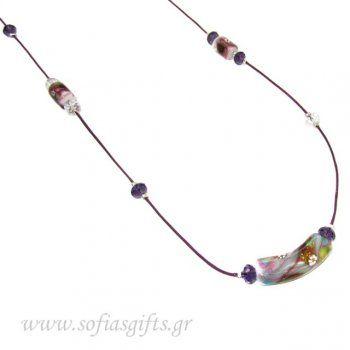 Χειροποίητο μακρύ κολιέ με μωβ κρυσταλλάκια και ανάγλυφες πολύχρωμες πέτρες - κοσμηματα kosmhmata κολιε