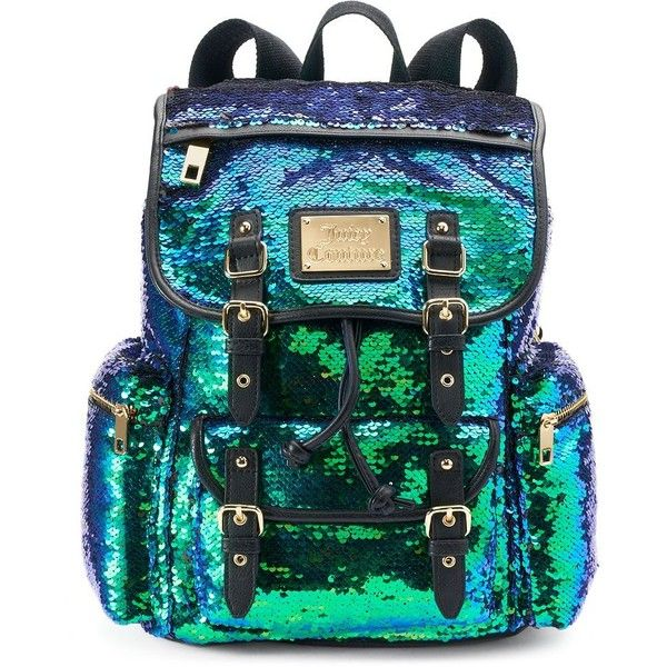 Juicy Couture Lacy Sequined Backpack () ($74) ❤ liked on Polyvore featuring bags, backpacks, green, multi colored backpacks, drawstring backpack bags, colorful bags, drawstring bag and juicy couture