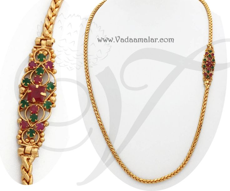 Traditional India Long Chain Ruby Emerald Stone Mugappu Side Pendants for Sarees
