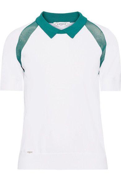 L'Etoile Sport - Medea Two-tone Mesh-paneled Stretch-knit Polo Shirt - White - medium
