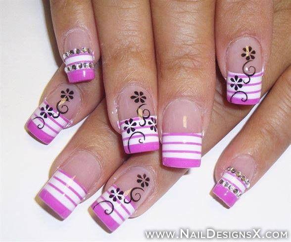pink 1 acrylic nail design