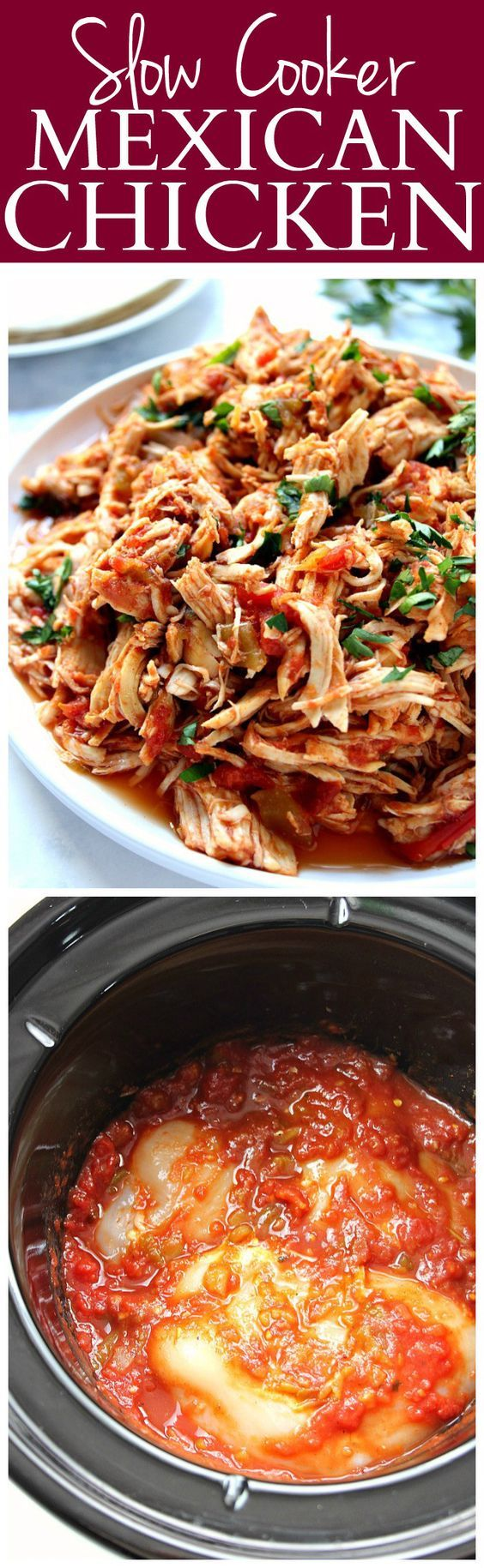 Slow Cooker Mexican Chicken Recipe - super easy and flavorful shredded chicken cooked in slow cooker! Use it in tacos, burritos, enchiladas, nachos and dips!