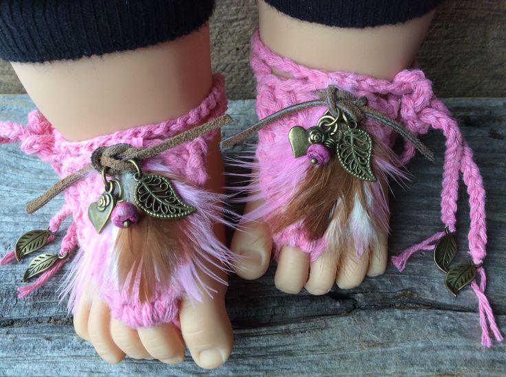 Bohemian baby barefoot sandals - www.rosebudbabydesigns.etsy.ca