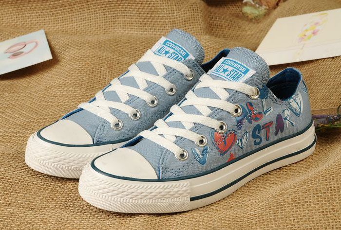 0ae0 2014 Blaue Converse All Star Graffiti Gedruckt von Lady Gaga Frauen Mädchen Chuck Taylor Low Tops Schuhe