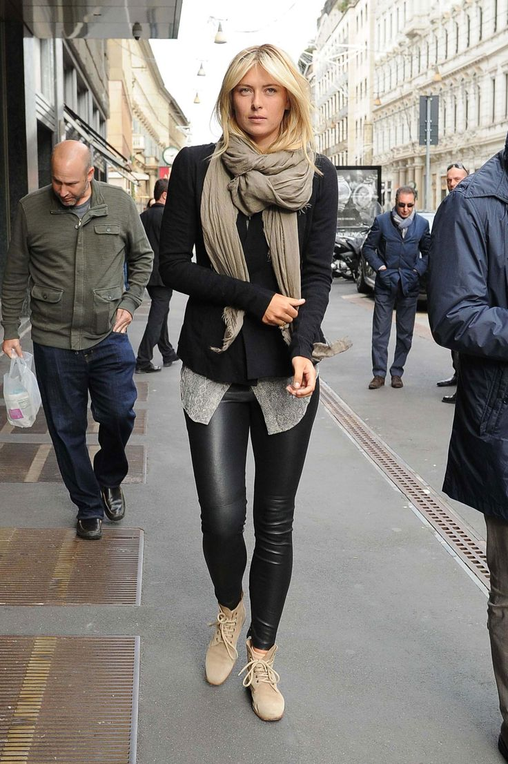 Maria Sharapova in leather pants out and about in Milan
