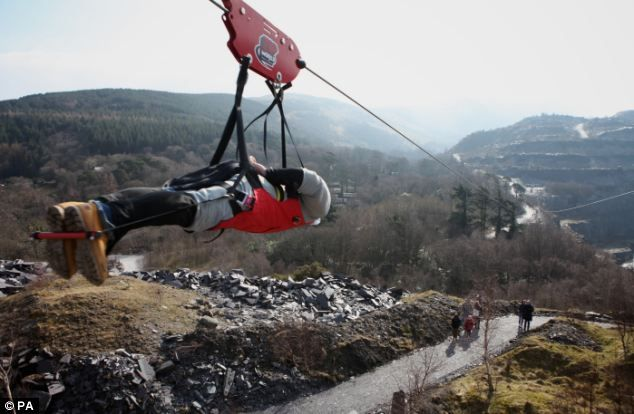 The northern hemisphere's longest zip wire opened in Penrhyn Quarry, Bethesda, Bangor, North Wales. 100mph rides along MILE-LONG route over Welsh mountains.