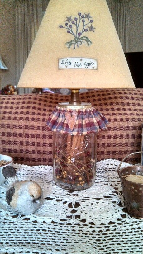 Primitive country diy lamp from a Ball canning jar