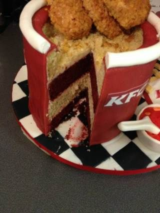 Collect of the KFC cake that Laura Stockton made for her husband Kyle. See MASONS story MNKFC; Fast food fan Kyle Stockton was treated to his favourite KFC takeaway for his birthday - made out of cake. Wife Laura crafted the life-size bargain bucket, complete with sides and ketchup, for a sweet surprise. Warehouse worker Kyle had tucked into one of the real meals for lunch at work on his 28th birthday. And he saw double when he returned home that evening to be presented with Laura's replica…