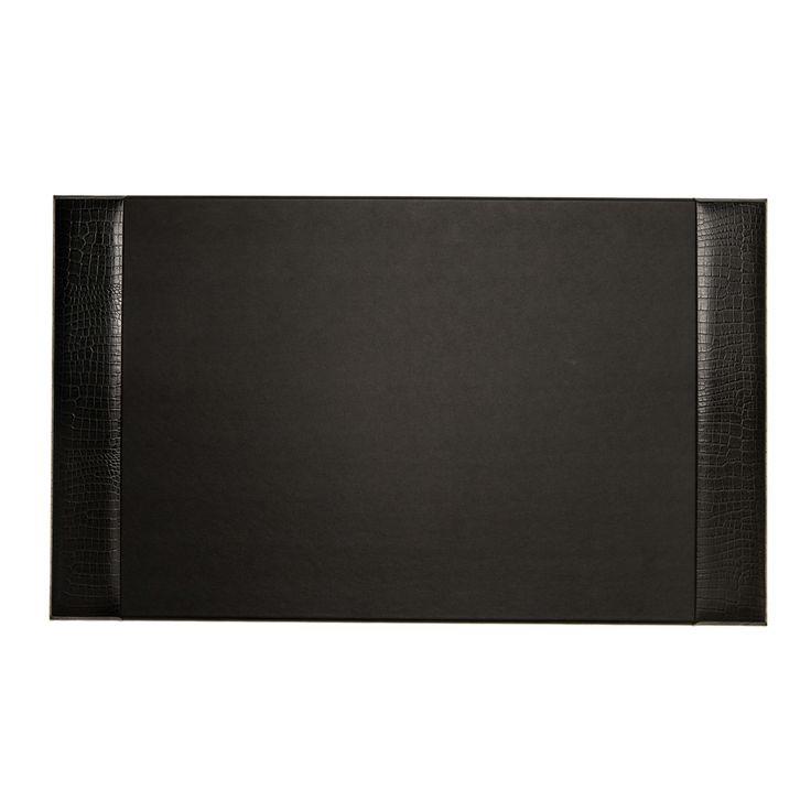 Bey Berk Black Croco Leather Desk Pad